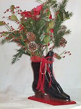 Floral Arrangement Carved Wood boot Chic Decoration Handcrafted Holiday Decor