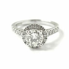 Diamond Engagement Ring 18ct White Gold Halo Set 0.66ct Centre Certificated