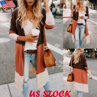 US Womens Color Block Knee Length Cardigan Long Sleeve Sweater Coat Slim Outwear