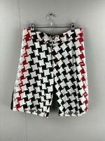 Quicksilver Mens Red Black White Abstract Regular Board Shorts Size Medium