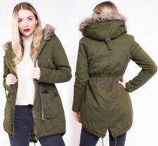 CANVAS PARKA NEW Womens MILITARY Ladies JACKET COAT PADDED Size 8 10 12 14 16