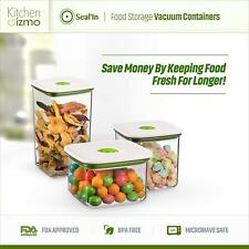 """NEW Seal'In Food Storage Vacuum Containers with """"Patented Design"""" Set of 3 Green"""