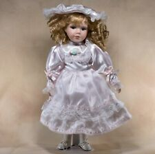 "Collector's Porcelain Girl Doll 16"" Blond Curls Blue Eyes Light Pink Satin Dress"