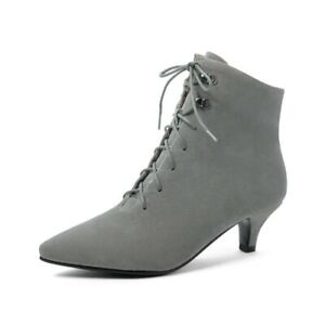 Womens Ankle Boots Kitten Heel Booties Pointed Toe Lace Up Casual Party Shoes