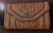 Vintage 1950s Western Hand tooled Leather Rockabilly Cowgirl Clutch Bag Purse
