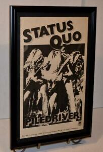 STATUS QUO 1973 PILEDRIVER HOLLYWOOD PALLADIUM LA FRAMED CONCERT POSTER / AD