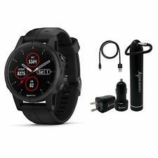 Garmin Fenix 5S Plus Sapphire GPS Watch Wearable4U Bundle, Black 010-01987-02