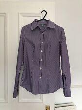 Benetton Purple Striped Fitted Women's Cotton Shirt UK Size 6-8