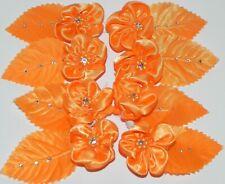 Lot Orange Satin Gemstone Pearl Leaf Flower Floral Picks Embellishments