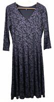Laura Ashley Grey Floral Butterfly Pattern Summer Dress Stretch V-Neck Casual 8