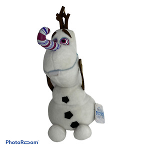 💕 Disney Olaf's Frozen Adventure Olaf White Snowman Candy Cane Nose Plush 9""