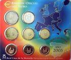 Euro Set con los Euros de España 2003 FNMT numerados EMISION OFICIAL DEL EURO