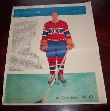 Henri Richard La Patrie Du Dimanche photo Montreal Canadians 1961-62