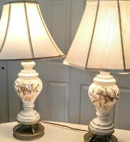 A PAIR  VTG WHITE GLASS TABLE LAMP/HAND PAINTED GOLD FLORAL/NO SHADE