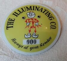 """Vtg. CLEVELAND ELECTRIC Co. Badge/Pin """"The Illuminating Co.""""Yellow Finder Reward"""
