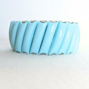 Vintage Signed Bergere Aqua Blue Teal Silver Tone Accordion Expansion Bracelet