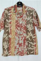 Tori Richard Honolulu Men's Short Sleeve Hawaiian Shirt - Size M - Tan Floral