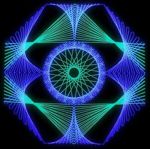 Stringart UV Deko - Goa Psy Trance Party - Schwarzlicht Fadenkunst - Achteck 3