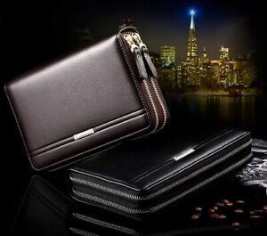 Men's Genuine Leather Long Wallet Purse Zipper Pocket Clutch Phone Holder USA
