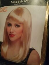 New Halloween Long Bob Wig Shiny Blonde With Bangs Adult One Size