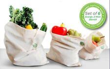 Reusable 100% Organic Cotton Muslin Produce Bags - Set of 6 (2L, 2M, 2S)