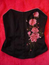 Petit haut bustier noir NEW LOOK avec fleurs pailletées t. 36