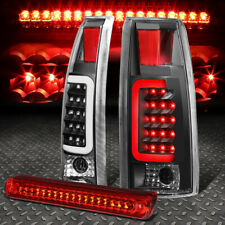 BLACK HOUSING CLEAR 3D LED BAR TAIL+RED 3RD BRAKE LIGHT FOR 88-00 CHEVY/GMC C/K