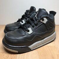 Nike Air Jordan 4 Retro LS BP 'Black Grey' OREO 707432-003 Little Kids Size 8C
