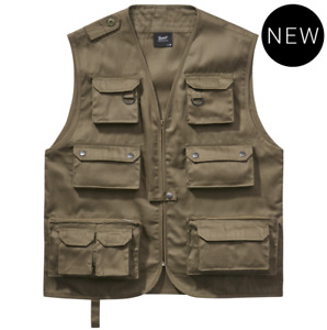 Brandit Jacket Vest Man Casual Hunting Fishing Camping Vest Olive Over Sizes