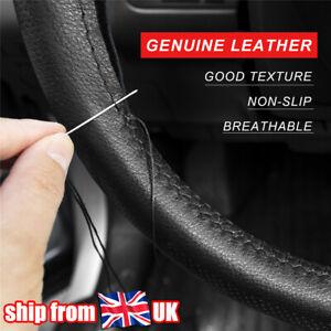 """Black DIY Steering Wheel Cover Cowhide Leather Anti-slip Breathable 15"""" UK"""
