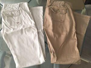 Pre-owned, 3s Hollister womens Khaki pants lot, Khaki and greyish white
