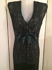 Retired Display YANSI FUGEL Black w Sequence Sleeveless Flapper Dress Size M-L