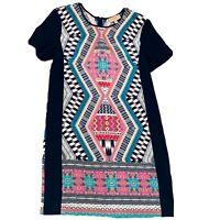 Kachel 100% Silk Size 8 A-Line Womens Dress Aztec Print