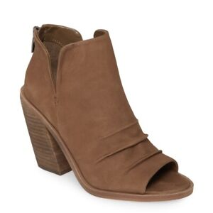 NEW Vince Camuto Kreesi Ruched Peep Toe Bootie Heels Shoes Brown Leather Size 10