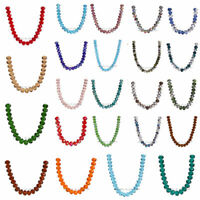 100/500pcs 6x4mm Faceted Glass Crystal Rondelle Loose Beads 111Colors Findings