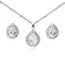 18K WHITE GOLD PLATED GENUINE CLEAR CUBIC ZIRCONIA NECKLACE AND EARRING SET