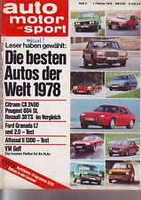 ams 3/78 Alfasud ti/Citroen CX/Peugeot 604 SL/Granada/Renault R30 TS - 1.2.1978