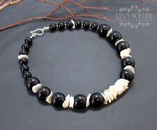 Runde Echtschmuck mit Onyx-Halsketten aus für Damen
