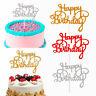 2 PCS Glitter Paper Happy Birthday Cake Topper Cupcake Dessert Decor Supplies