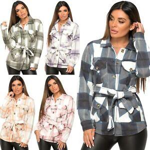 Womens Check Fleece Casual Jacket Belted Shacket Top Shirt Tunic Oversize Baggy