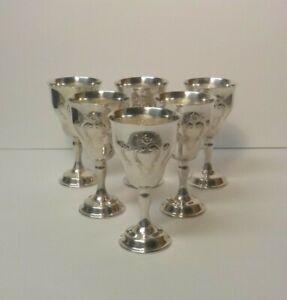 "Set/6 Gorham CHANTILLY Silver Plate 5.25"" Wine Goblets"