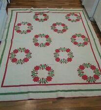 """Vintage President's Wreath  Applique Hand Stitched Antique Quilt! 88""""x74"""""""