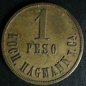 1 peso miramar Guatemala Brass trade token Koch. Hagmann y Ca.