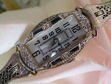 1925 Ladies Art Deco 18K Bulova Sapphire Watch~Sapphire Filigree Band