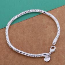 """Cuerda pulsera serpiente plata esterlina 925 3mm señoras encantos 8"""" Reino Unido"""