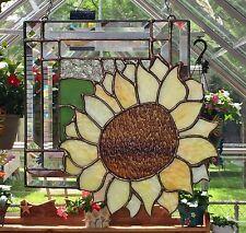 "STAINED GLASS ART WINDOW PANEL SUNCATCHER SUNFLOWER TIFFANY STYLE 11""x11"""