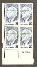 2848 George Meany Plate Block Mint/nh Free Shipping