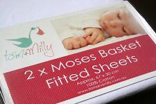 NEW WHITE Fitted Sheet Set 2 Pack Moses Basket Bassinet Pram Carrier 67x30cm