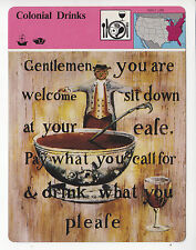 COLONIAL DRINKS Pubs Bars in Colony Times Tavern Sign 1979 STORY OF AMERICA CARD