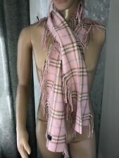Ladies Burberry Pink Lambswool Fringed Scarf